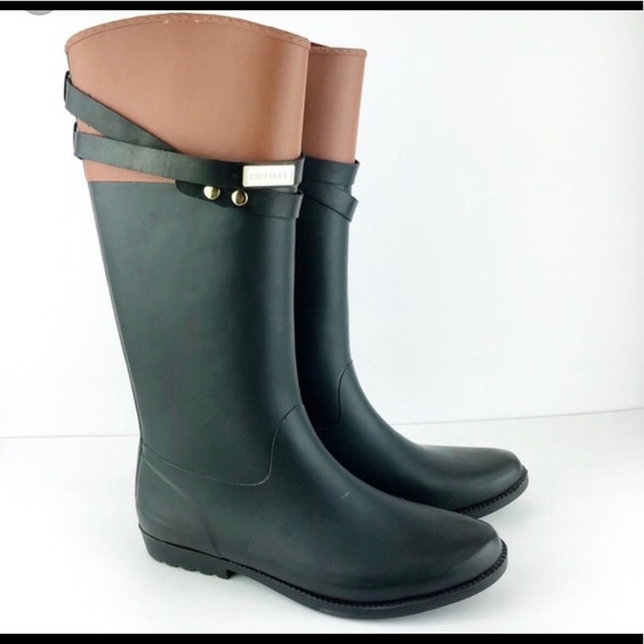 Brown And Black Rain Boots